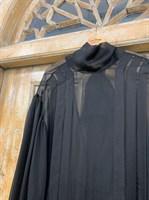 ПЛАТЬЕ Черный Ангел с юбкой солнце, вертикальными защипами и пышным рукавом - фото 6628