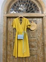 ПЛАТЬЕ МИДИ-ЛЕН НА ЗАПАХЕ из желтого льна - фото 6917