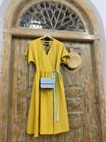 ПЛАТЬЕ МИДИ-ЛЕН НА ЗАПАХЕ из желтого льна - фото 6918
