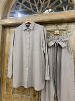КОСТЮМ ЛЬНЯНОЙ (рубашка свободная и брюки зауженные на резинке с поясом-бант) - фото 6970