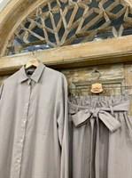 КОСТЮМ ЛЬНЯНОЙ (рубашка свободная и брюки зауженные на резинке с поясом-бант) - фото 6971