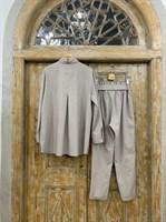 КОСТЮМ ЛЬНЯНОЙ (рубашка свободная и брюки зауженные на резинке с поясом-бант) - фото 6972