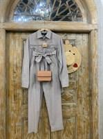 КОСТЮМ ЛЬНЯНОЙ (рубашка свободная и брюки зауженные на резинке с поясом-бант) - фото 6973
