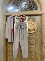 КОСТЮМ ЛЬНЯНОЙ (рубашка свободная и брюки зауженные на резинке с поясом-бант) - фото 6975