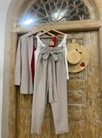 КОСТЮМ ЛЬНЯНОЙ (рубашка свободная и брюки зауженные на резинке с поясом-бант) - фото 6976