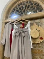 КОСТЮМ ЛЬНЯНОЙ (рубашка свободная и брюки зауженные на резинке с поясом-бант) - фото 6978
