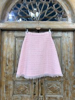ЮБКА (ТРАПЕЦИЯ, миди, розовый твид, с бахромой) - фото 7240