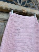 ЮБКА (ТРАПЕЦИЯ, миди, розовый твид, с бахромой) - фото 7241
