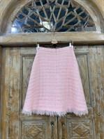 ЮБКА (ТРАПЕЦИЯ, миди, розовый твид, с бахромой) - фото 7242