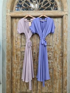 ПЛАТЬЕ на запАхе с рукавами-кимоно, отрезной юбкой полуклеш - фото 7561