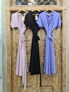 ПЛАТЬЕ на запАхе с рукавами-кимоно, отрезной юбкой полуклеш - фото 7562