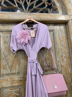 ПЛАТЬЕ на запАхе с рукавами-кимоно, отрезной юбкой полуклеш - фото 7565