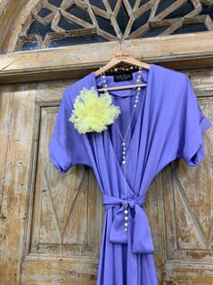 ПЛАТЬЕ на запАхе с рукавами-кимоно, отрезной юбкой полуклеш - фото 7632