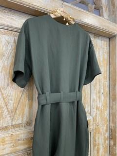 КОМБИНЕЗОН, широкие брюки с защипом в пол, верх на запАхе, короткий рукав (Лен/Вискоза) - фото 7860