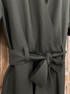 КОМБИНЕЗОН, широкие брюки с защипом в пол, верх на запАхе, короткий рукав (Лен/Вискоза) - фото 7863