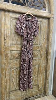 КОМБИНЕЗОН, широкие брюки с защипом в пол, верх на запАхе, короткий рукав (из легкой вискозы в огурцы) - фото 7902