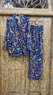 БРЮКИ свободные в пижамном стиле на мягкой резинке (из вискозы в огурцы) - фото 8543