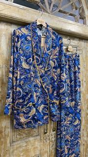 БРЮКИ свободные в пижамном стиле на мягкой резинке (из вискозы в огурцы) - фото 8544
