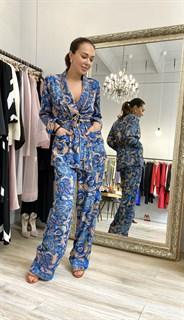 БРЮКИ свободные в пижамном стиле на мягкой резинке (из вискозы в огурцы) - фото 8548