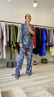 БРЮКИ свободные в пижамном стиле на мягкой резинке (из вискозы в огурцы) - фото 8551