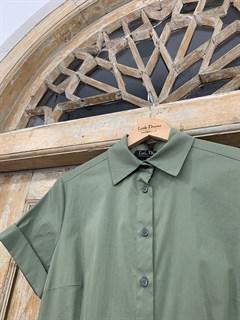 ПЛАТЬЕ-РУБАШКА с рубашечным воротником и юбкой со складками (ЛЕТО) , длина 80 см. - фото 8616