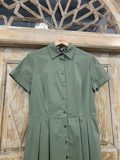 ПЛАТЬЕ-РУБАШКА с рубашечным воротником и юбкой со складками (ЛЕТО) , длина 80 см. - фото 8617