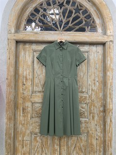 ПЛАТЬЕ-РУБАШКА с рубашечным воротником и юбкой со складками (ЛЕТО) , длина 80 см. - фото 8618