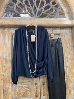 БЛУЗКА на запАхе с мягкой драпировкой (искусственный шелк) - фото 8871