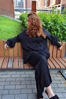 БЛУЗКА длинная свободная OneSize, с воротником стойкой (из вискозы сатин) - фото 9139