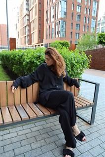 БЛУЗКА длинная свободная OneSize, с воротником стойкой (из вискозы сатин) - фото 9141