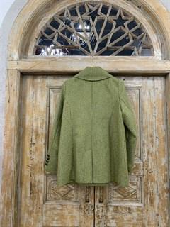 БУШЛАТ из шерстяного твида в зеленую елочку (утепленный) - фото 9215