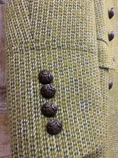 БУШЛАТ из шерстяного твида в зеленую елочку (утепленный) - фото 9216
