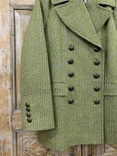 БУШЛАТ из шерстяного твида в зеленую елочку (утепленный) - фото 9217