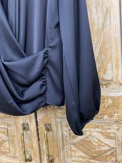БЛУЗКА на запАхе с мягкой драпировкой (искусственный шелк) - фото 9863