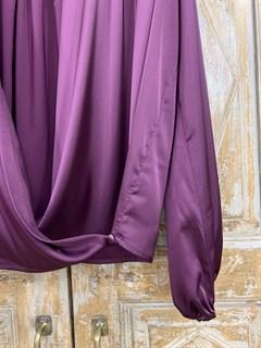 БЛУЗКА на запАхе с мягкой драпировкой (из АТЛАСА) - фото 9883