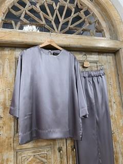 БРЮКИ свободные в пижамном стиле на мягкой резинке (из атласа) - фото 9968